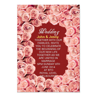 Invitación color de rosa del boda del amor