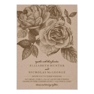 Invitación color de rosa del boda del bosquejo en