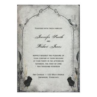 Invitación color de rosa negra gótica del boda del