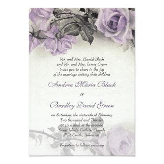 Invitación color de rosa púrpura del boda de la
