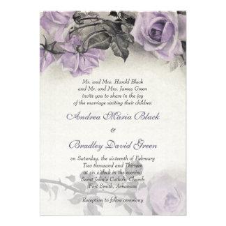 Invitación color de rosa púrpura del boda de la pl