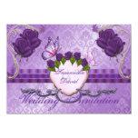 Invitación color de rosa púrpura del boda del invitación 11,4 x 15,8 cm