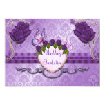 Invitación color de rosa púrpura del boda del invitación 12,7 x 17,8 cm