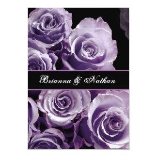 Invitación color de rosa PÚRPURA del boda del ramo Invitación 12,7 X 17,8 Cm