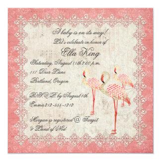 Invitación color de rosa rosada del bebé de los invitación 13,3 cm x 13,3cm