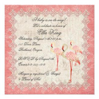 Invitación color de rosa rosada del bebé de los fl