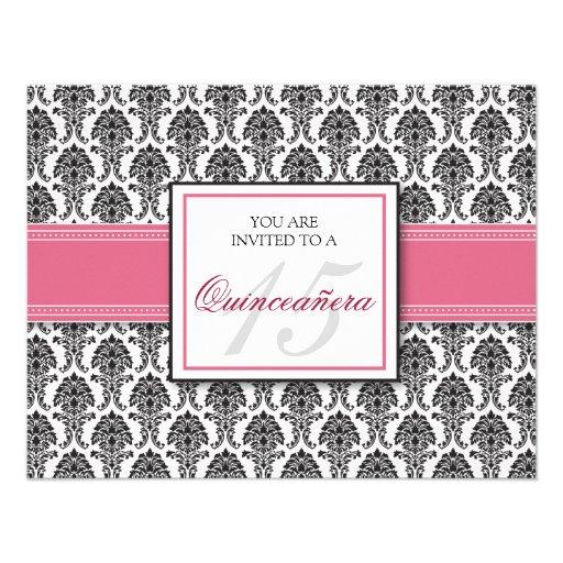 Invitación color de rosa rosada INGLESA de Quincea