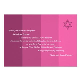 Invitación color de rosa tonal de Mitzvah del palo Invitación 12,7 X 17,8 Cm