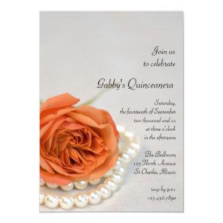Invitación color de rosa y de la perla anaranjada