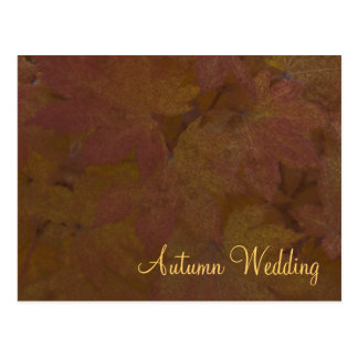 Invitación coloreada del boda del otoño de las hoj postales