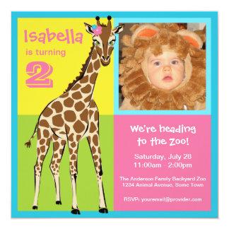 Invitación colorida de la foto de la jirafa de la invitación 13,3 cm x 13,3cm