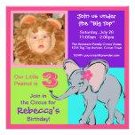 Invitación colorida de la foto del elefante de la