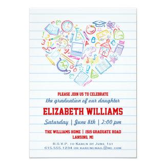 Invitación colorida de la graduación del corazón