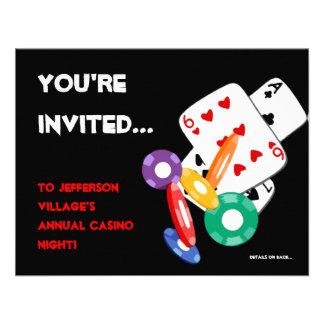 Invitación colorida de la noche del casino de Vega