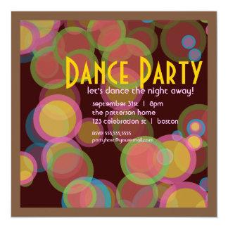 Invitación colorida del baile de la luz del disco