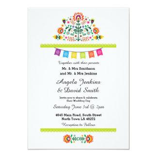Invitación colorida del banquete de boda mexicano