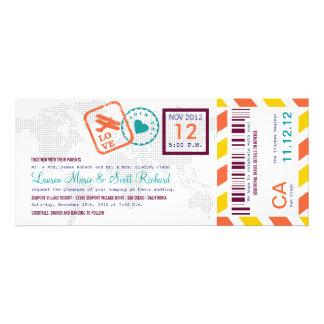 Invitación colorida del boleto del correo aéreo de