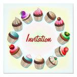 Invitación colorida del círculo de las magdalenas