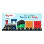 Invitación colorida del cumpleaños del tren de