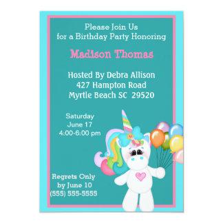 Invitación colorida del cumpleaños del unicornio