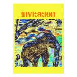 Invitación colorida del elefante