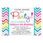 Invitación colorida del fiesta de Chevron