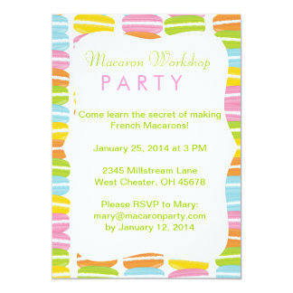 Invitación colorida del fiesta de Macarons
