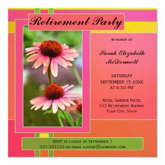 Invitación colorida del fiesta de retiro de la