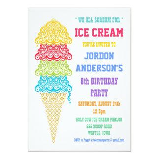 Invitación colorida del fiesta del cono de helado