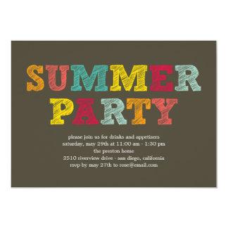 Invitación colorida del fiesta del verano invitación 12,7 x 17,8 cm