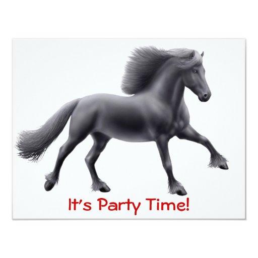 Invitación completa del galope del caballo frisio
