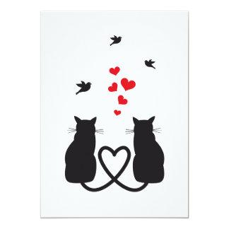 Invitación con los gatos y los pájaros