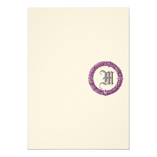 Invitación con monograma del boda de la guirnalda