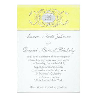 Invitación con monograma del damasco amarillo y