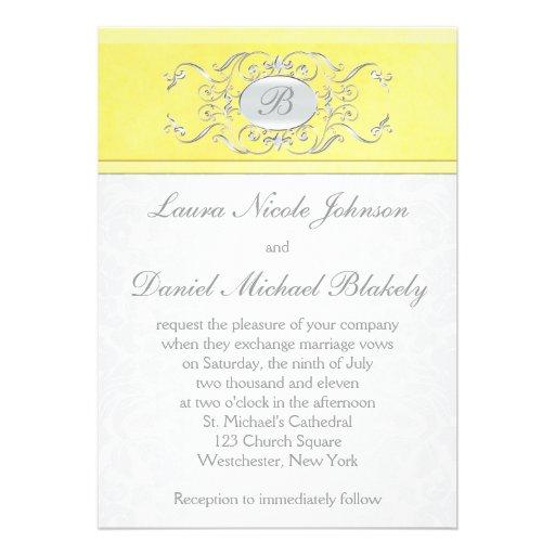 Invitación con monograma del damasco amarillo y gr