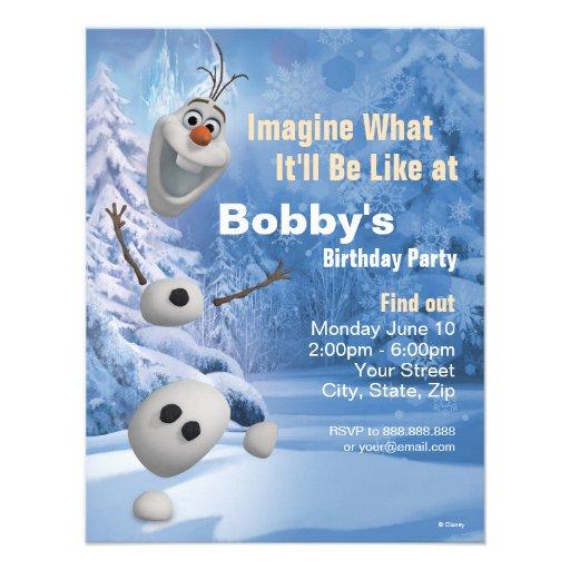Invitación congelada del cumpleaños de Olaf