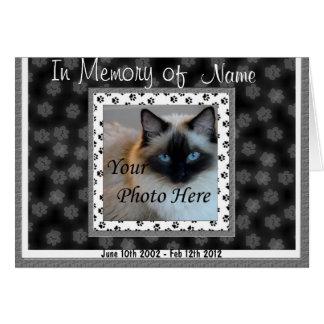 Invitación conmemorativa del gato - pérdida del tarjeta de felicitación
