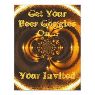 """Invitación-Consiga sus gafas de la cerveza Invitación 4.25"""" X 5.5"""""""