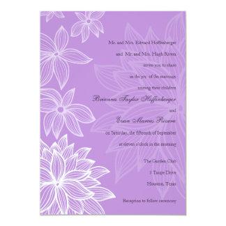 Invitación contorneada del boda de la lila de la