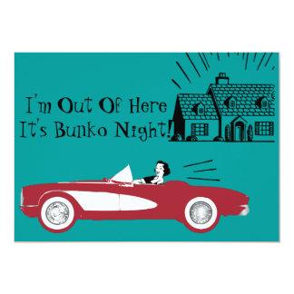Invitación convertible roja retra y del vintage