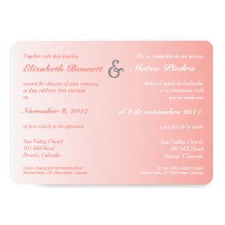 Invitación coralina bilingüe del boda de Ombre