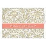 Invitación coralina de la dama de honor del damasc tarjeta de felicitación