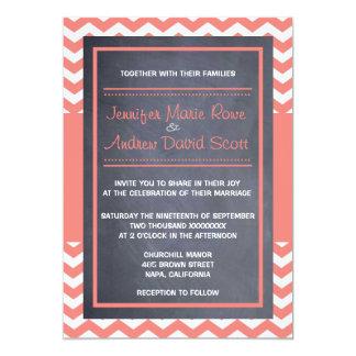 Invitación coralina del boda de Chevron
