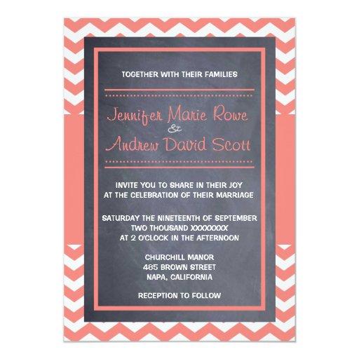 Invitación coralina del boda de Chevron Invitación 12,7 X 17,8 Cm