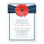 Invitación coralina del boda de la cinta de la
