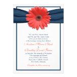 Invitación coralina del boda de la cinta de la mar