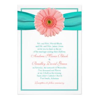 Invitación coralina del boda de la cinta de la tur