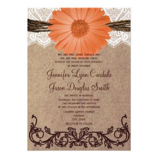 Invitación coralina del boda de la flor de la marg
