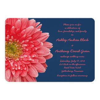 Invitación coralina del boda de los azules marinos
