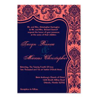 invitación coralina del boda del cordón del